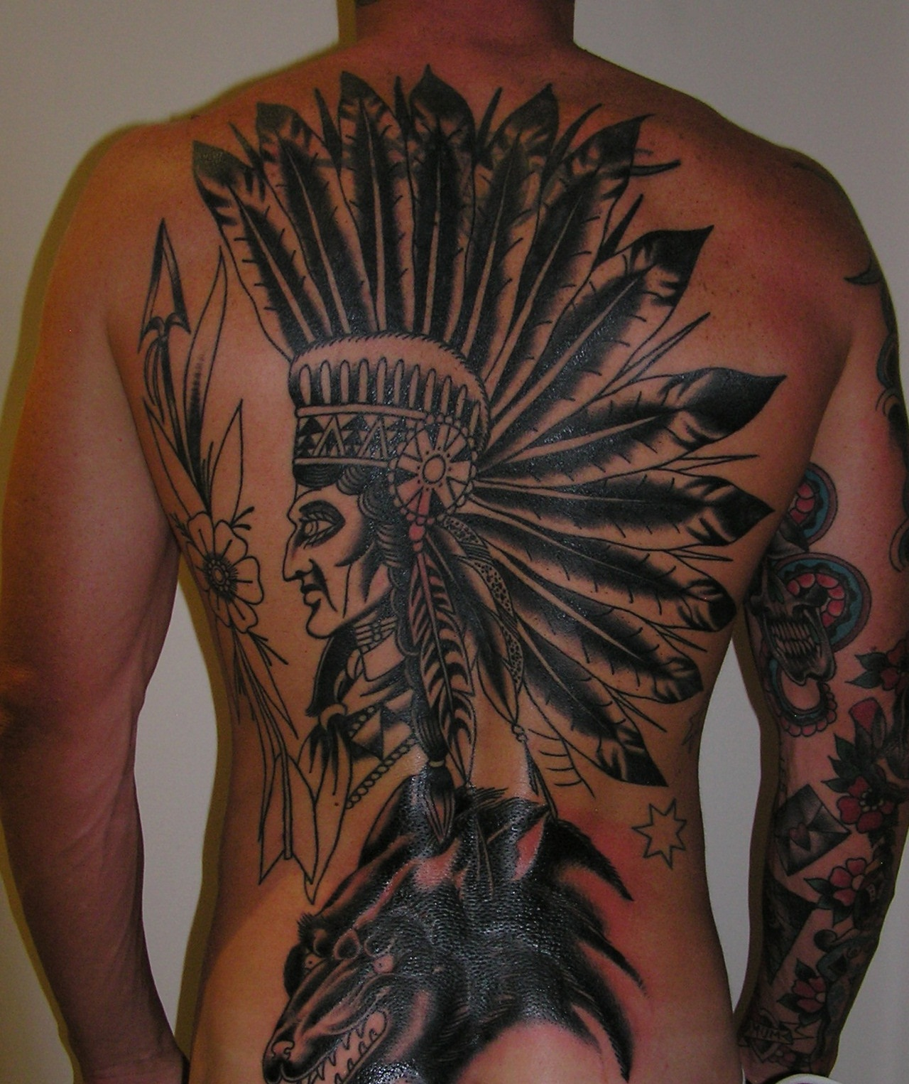Cherokee Indian Headdress Tattoos